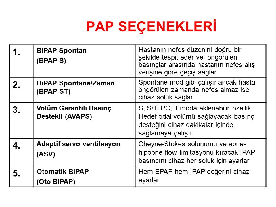 PAP SEÇENEKLERİ 1.