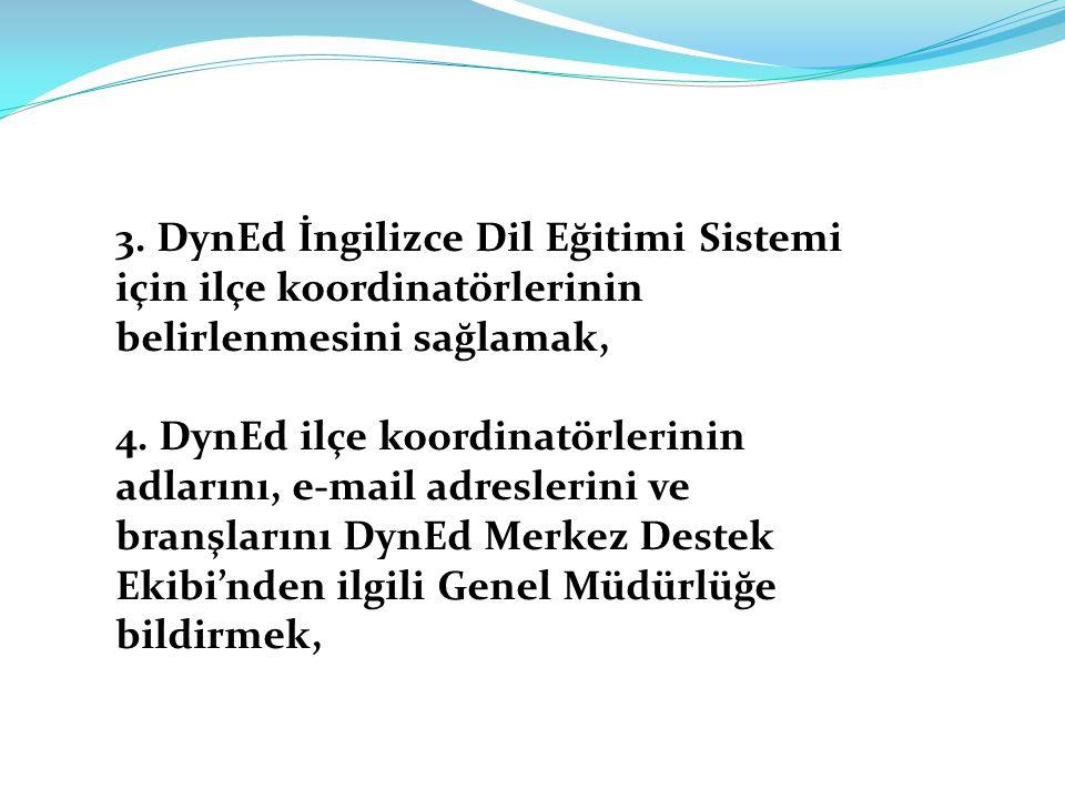 3. DynEd İngilizce Dil Eğitimi Sistemi için ilçe koordinatörlerinin belirlenmesini sağlamak, 4. DynEd ilçe koordinatörlerinin adlarını, e-mail adresle