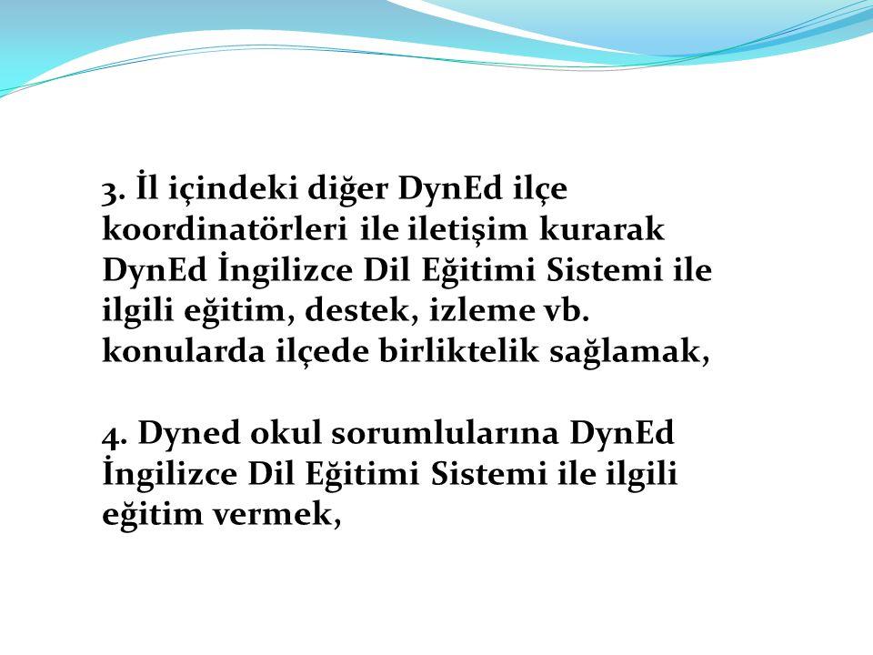 3. İl içindeki diğer DynEd ilçe koordinatörleri ile iletişim kurarak DynEd İngilizce Dil Eğitimi Sistemi ile ilgili eğitim, destek, izleme vb. konular