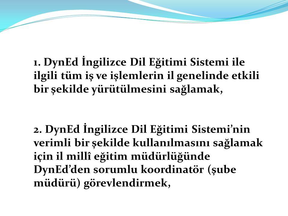 1. DynEd İngilizce Dil Eğitimi Sistemi ile ilgili tüm iş ve işlemlerin il genelinde etkili bir şekilde yürütülmesini sağlamak, 2. DynEd İngilizce Dil