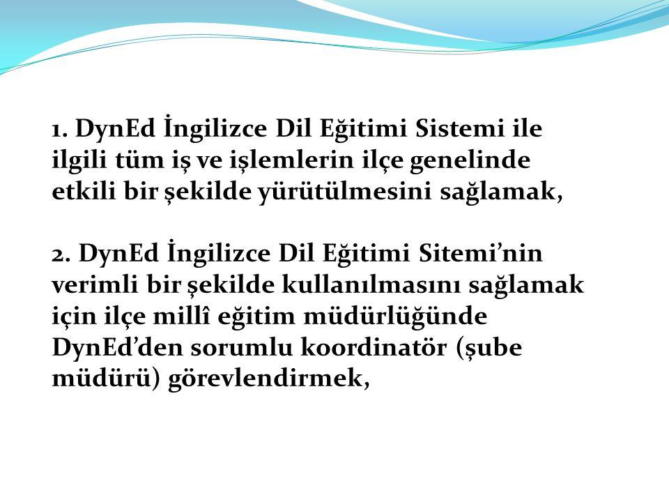 1. DynEd İngilizce Dil Eğitimi Sistemi ile ilgili tüm iş ve işlemlerin ilçe genelinde etkili bir şekilde yürütülmesini sağlamak, 2. DynEd İngilizce Di