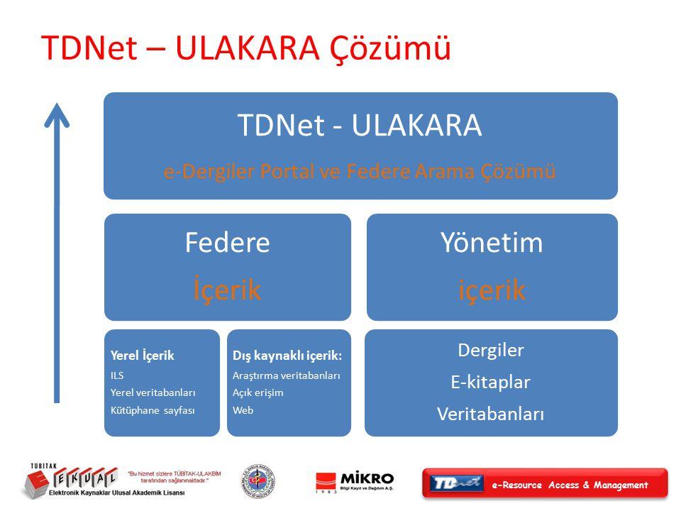 e-Resource Access & Management TDNet - ULAKARA e-Dergiler Portal ve Federe Arama Çözümü Federe İçerik Yerel İçerik ILS Yerel veritabanları Kütüphane sayfası Dış kaynaklı içerik: Araştırma veritabanları Açık erişim Web Yönetim içerik Dergiler E-kitaplar Veritabanları TDNet – ULAKARA Çözümü