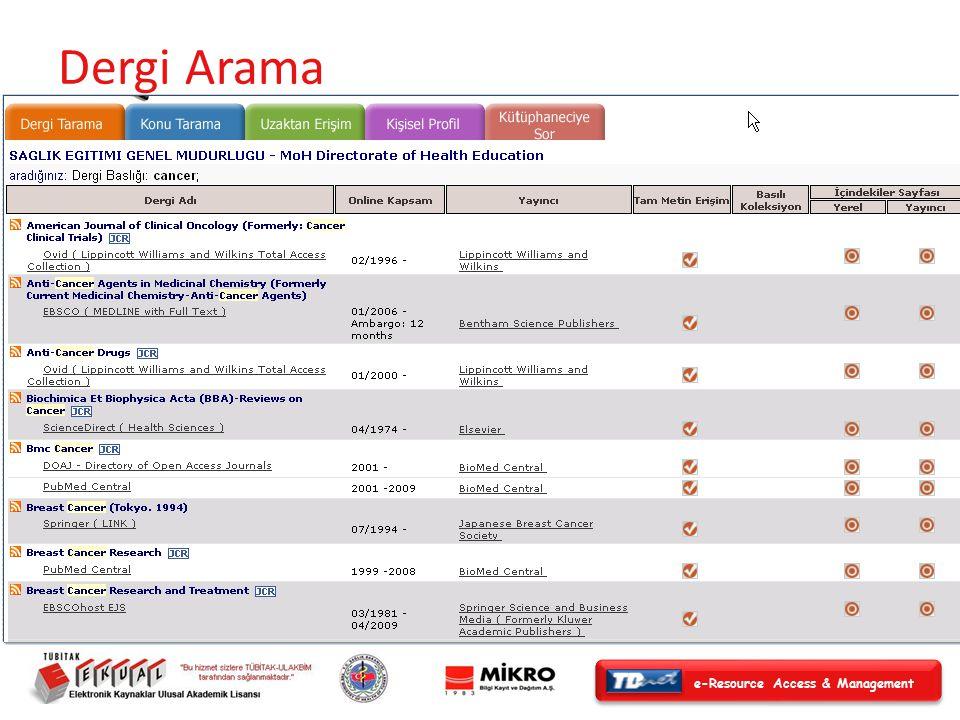 e-Resource Access & Management Alfabetik Dergi Listesi