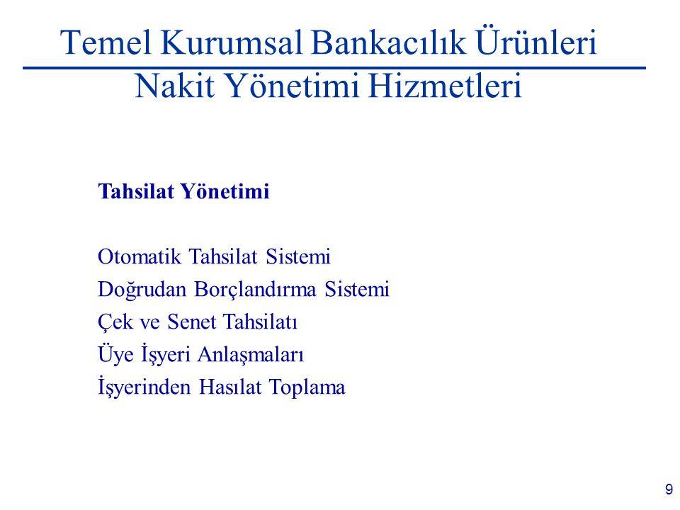 9 Temel Kurumsal Bankacılık Ürünleri Nakit Yönetimi Hizmetleri Tahsilat Yönetimi Otomatik Tahsilat Sistemi Doğrudan Borçlandırma Sistemi Çek ve Senet