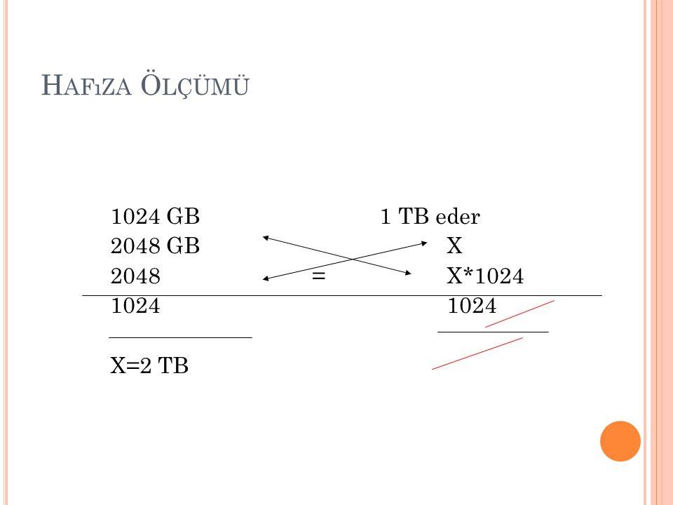 H AFıZA Ö LÇÜMÜ 1024 GB 1 TB eder 2048 GBX 2048=X*10241024 X=2 TB