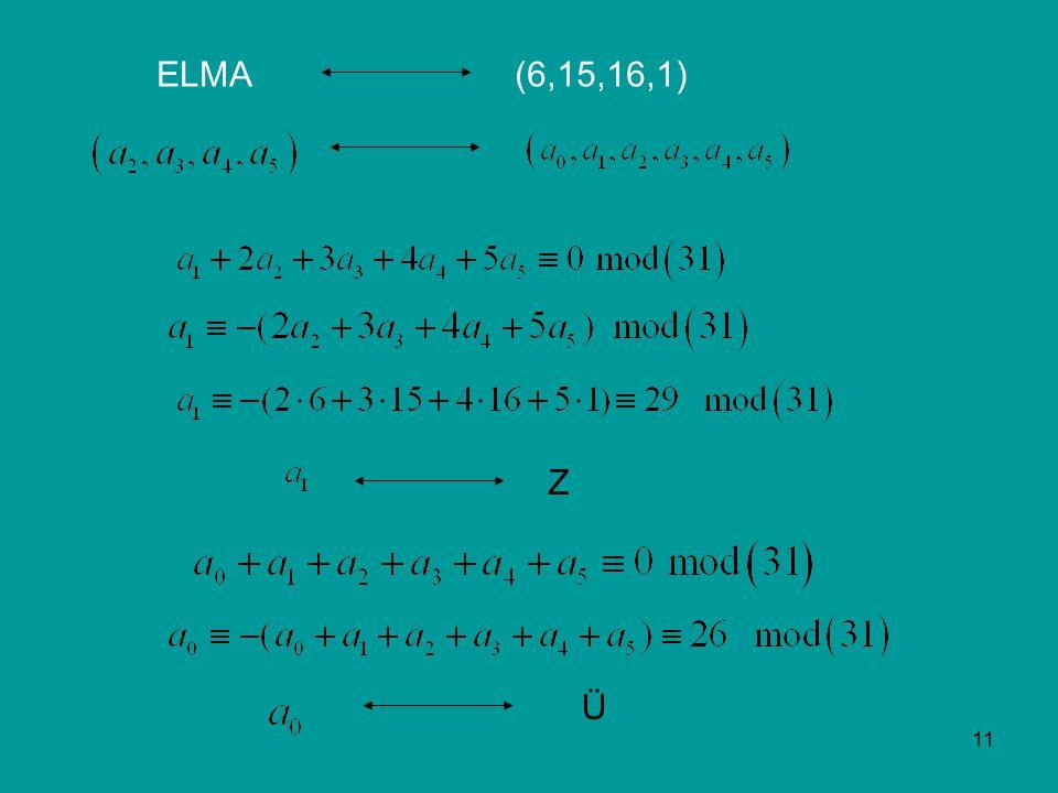11 ELMA(6,15,16,1) Z Ü