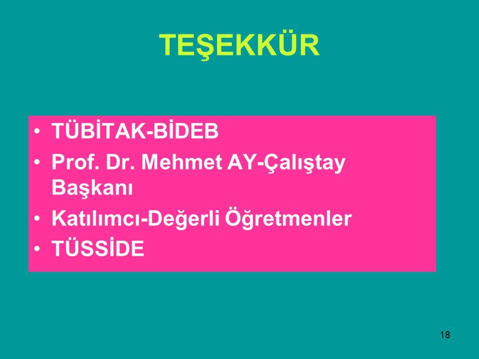18 TEŞEKKÜR TÜBİTAK-BİDEB Prof. Dr.