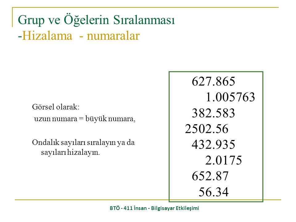 BTÖ - 411 İnsan - Bilgisayar Etkileşimi Sayılardan hangisi en büyük? 532.56 179.3 256.317 15 73.948 1035 3.142 497.625 6 Grup ve Öğelerin Sıralanması