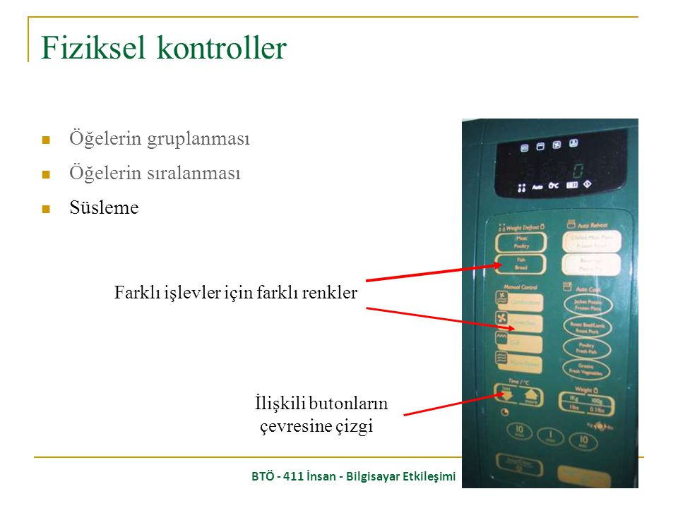 BTÖ - 411 İnsan - Bilgisayar Etkileşimi Öğelerin gruplanması Öğelerin sıralanması 4 4- Başlat 2 2- Sıcaklık 3 3- Pişirme zamanı 1 1- Isıtma tipi Fiziksel kontroller