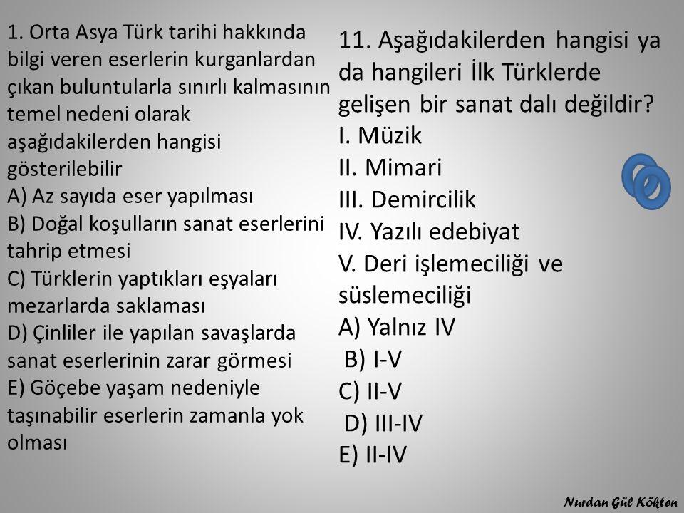 1. Orta Asya Türk tarihi hakkında bilgi veren eserlerin kurganlardan çıkan buluntularla sınırlı kalmasının temel nedeni olarak aşağıdakilerden hangisi