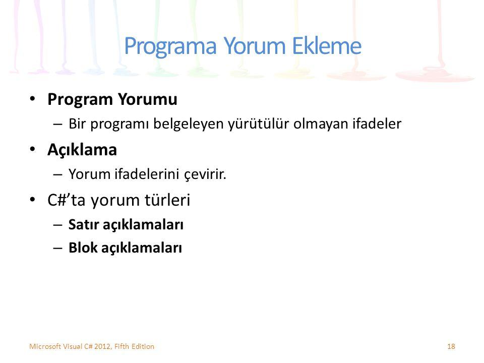 Programa Yorum Ekleme Program Yorumu – Bir programı belgeleyen yürütülür olmayan ifadeler Açıklama – Yorum ifadelerini çevirir. C#'ta yorum türleri –