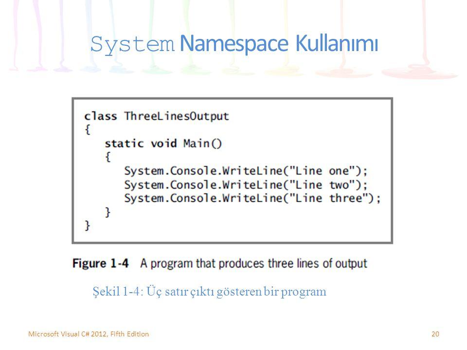 System Namespace Kullanımı 20Microsoft Visual C# 2012, Fifth Edition Şekil 1-4: Üç satır çıktı gösteren bir program