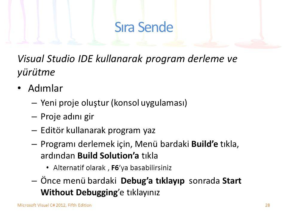 Sıra Sende Visual Studio IDE kullanarak program derleme ve yürütme Adımlar – Yeni proje oluştur (konsol uygulaması) – Proje adını gir – Editör kullana