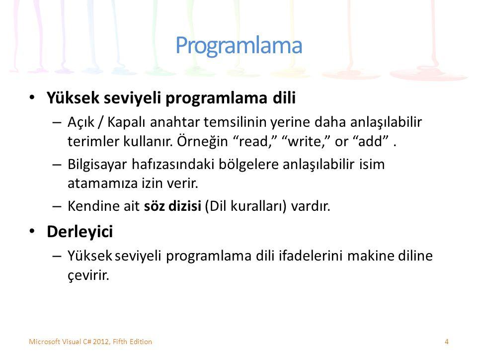Programlama Programlama mantığı – Çeşitli ifadeleri ve işlemleri yürütürken doğru sırayla istenen sonuçları üretmektir.