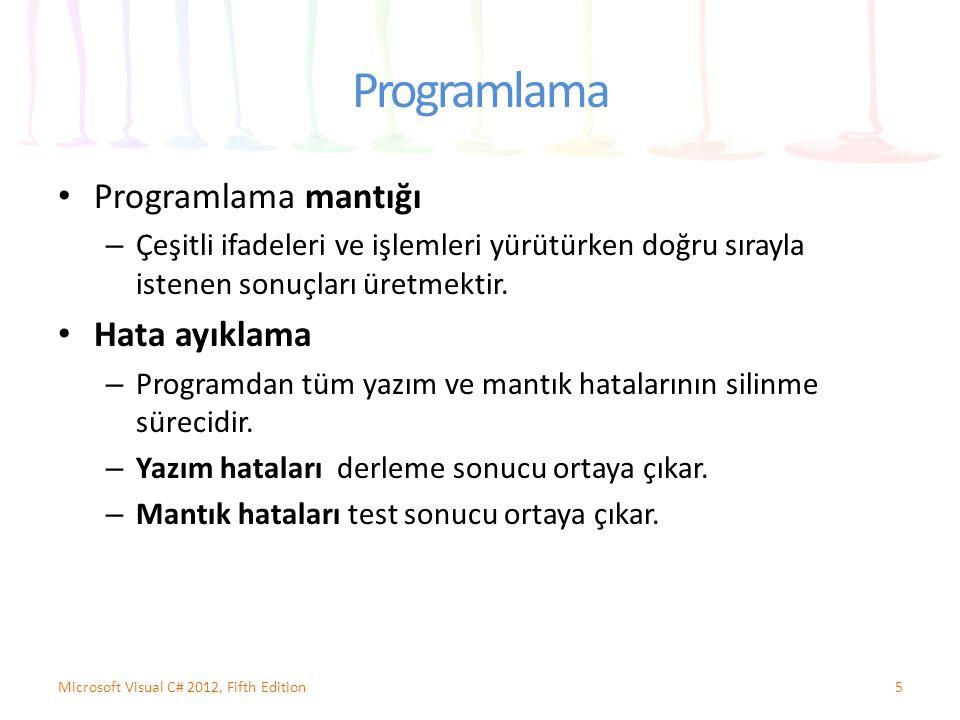 Programlama Programlama mantığı – Çeşitli ifadeleri ve işlemleri yürütürken doğru sırayla istenen sonuçları üretmektir. Hata ayıklama – Programdan tüm