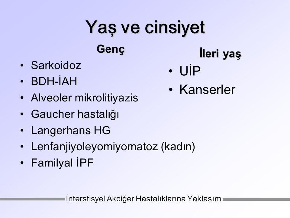 Yaş ve cinsiyet Genç Sarkoidoz BDH-İAH Alveoler mikrolitiyazis Gaucher hastalığı Langerhans HG Lenfanjiyoleyomiyomatoz (kadın) Familyal İPF İleri yaş UİP Kanserler İnterstisyel Akciğer Hastalıklarına Yaklaşım