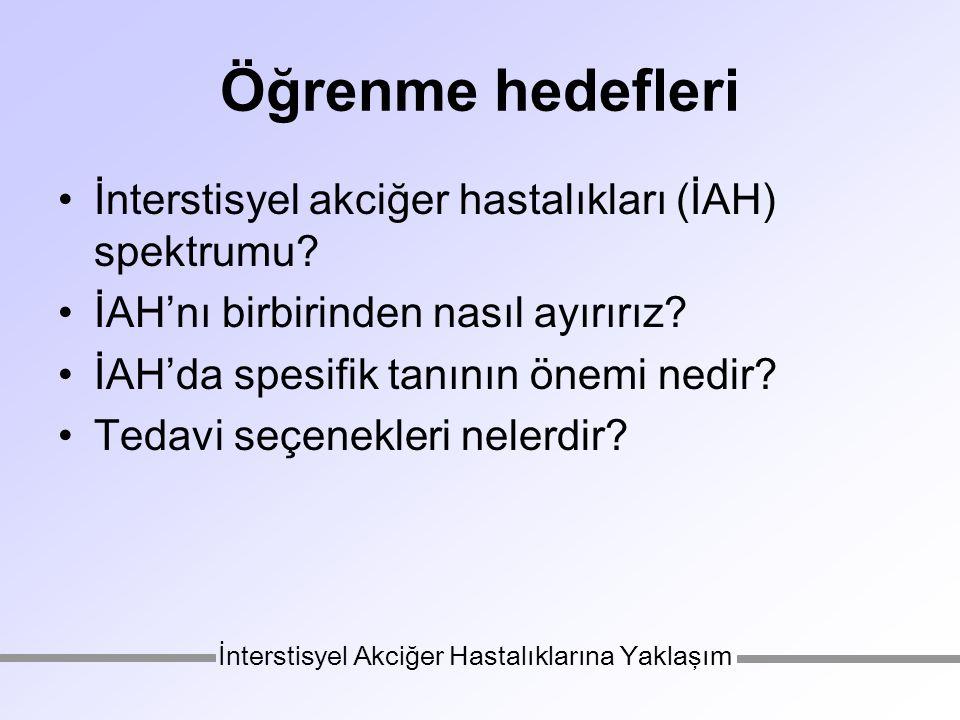 Öğrenme hedefleri İnterstisyel akciğer hastalıkları (İAH) spektrumu.