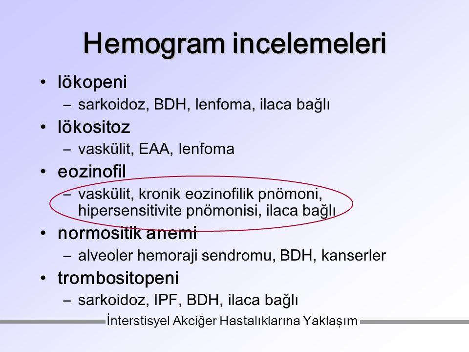Hemogram incelemeleri lökopeni –sarkoidoz, BDH, lenfoma, ilaca bağlı lökositoz –vaskülit, EAA, lenfoma eozinofil –vaskülit, kronik eozinofilik pnömoni, hipersensitivite pnömonisi, ilaca bağlı normositik anemi –alveoler hemoraji sendromu, BDH, kanserler trombositopeni –sarkoidoz, IPF, BDH, ilaca bağlı İnterstisyel Akciğer Hastalıklarına Yaklaşım
