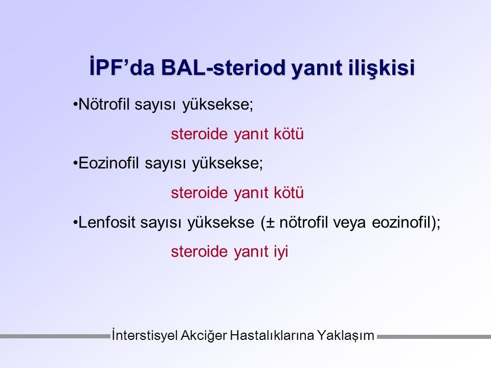 İPF'da BAL-steriod yanıt ilişkisi Nötrofil sayısı yüksekse; steroide yanıt kötü Eozinofil sayısı yüksekse; steroide yanıt kötü Lenfosit sayısı yüksekse (± nötrofil veya eozinofil); steroide yanıt iyi İnterstisyel Akciğer Hastalıklarına Yaklaşım