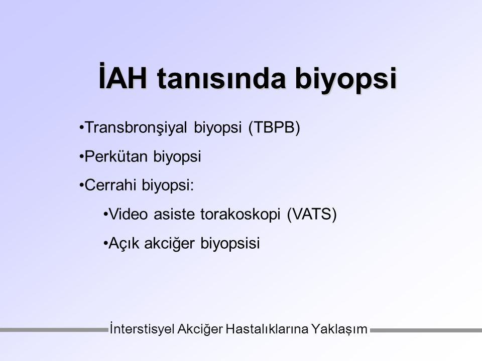 Transbronşiyal biyopsi (TBPB) Perkütan biyopsi Cerrahi biyopsi: Video asiste torakoskopi (VATS) Açık akciğer biyopsisi İnterstisyel Akciğer Hastalıklarına Yaklaşım İAH tanısında biyopsi