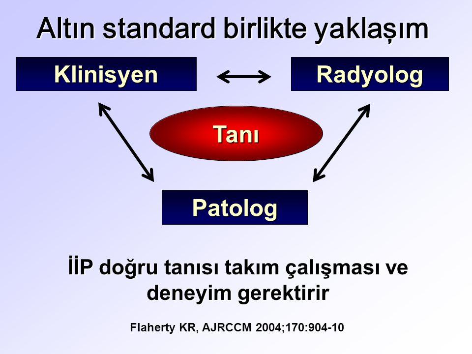İİP doğru tanısı takım çalışması ve deneyim gerektirir Flaherty KR, AJRCCM 2004;170:904-10 KlinisyenRadyolog Patolog Tanı Altın standard birlikte yaklaşım