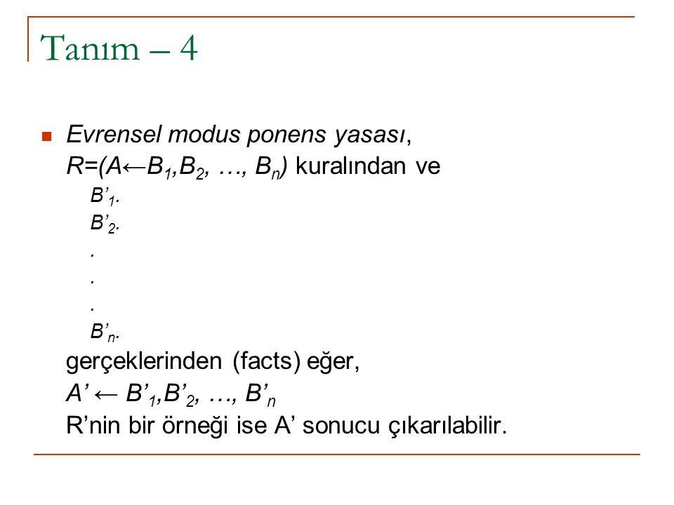 Tanım – 5 ve 6 Bir mantık programı sonlu kurallar kümesidir.