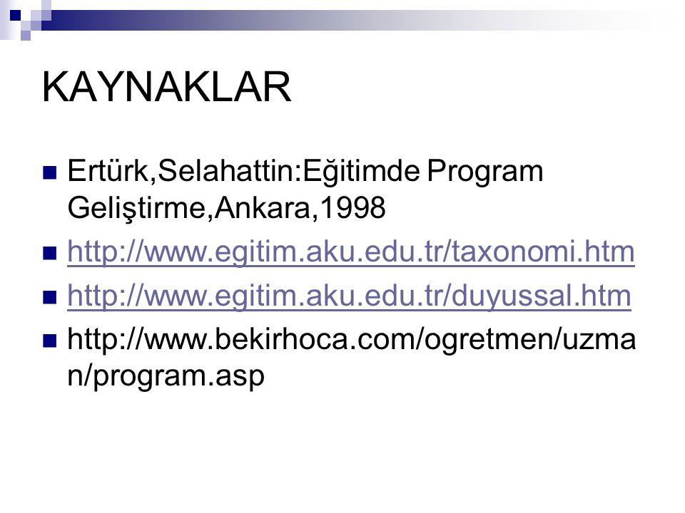 KAYNAKLAR Ertürk,Selahattin:Eğitimde Program Geliştirme,Ankara,1998 http://www.egitim.aku.edu.tr/taxonomi.htm http://www.egitim.aku.edu.tr/duyussal.ht