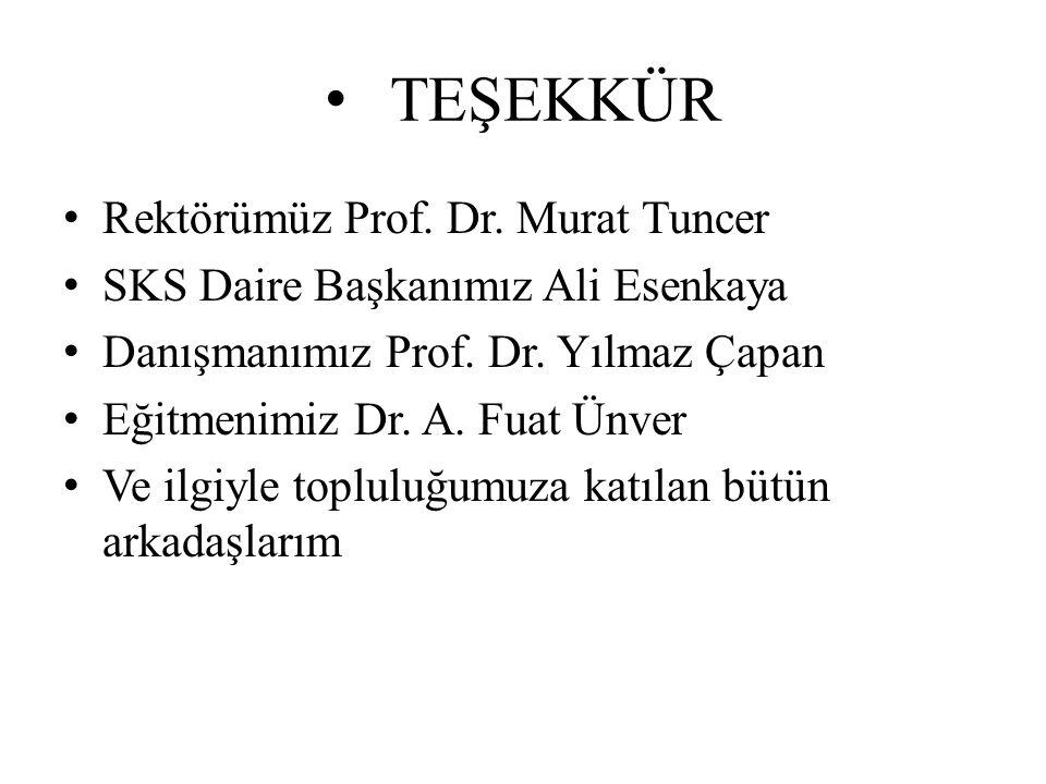 TEŞEKKÜR Rektörümüz Prof. Dr. Murat Tuncer SKS Daire Başkanımız Ali Esenkaya Danışmanımız Prof. Dr. Yılmaz Çapan Eğitmenimiz Dr. A. Fuat Ünver Ve ilgi