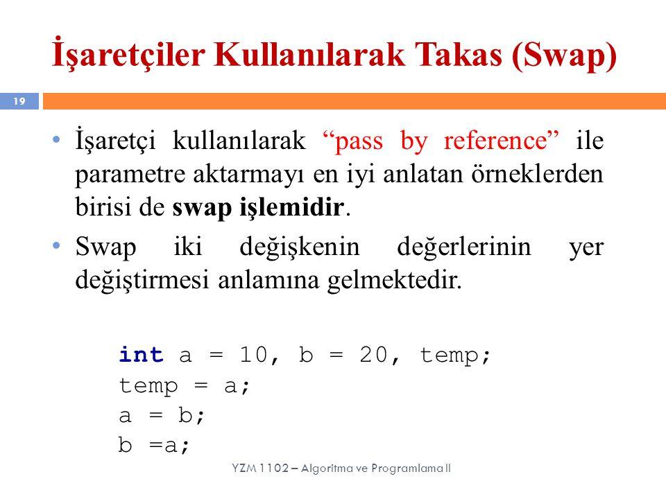 """19 YZM 1102 – Algoritma ve Programlama II İşaretçiler Kullanılarak Takas (Swap) İşaretçi kullanılarak """"pass by reference"""" ile parametre aktarmayı en i"""