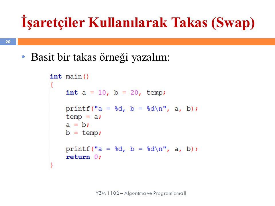 20 YZM 1102 – Algoritma ve Programlama II İşaretçiler Kullanılarak Takas (Swap) Basit bir takas örneği yazalım: