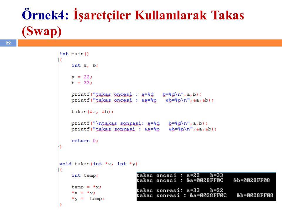 22 YZM 1102 – Algoritma ve Programlama II Örnek4: İşaretçiler Kullanılarak Takas (Swap)