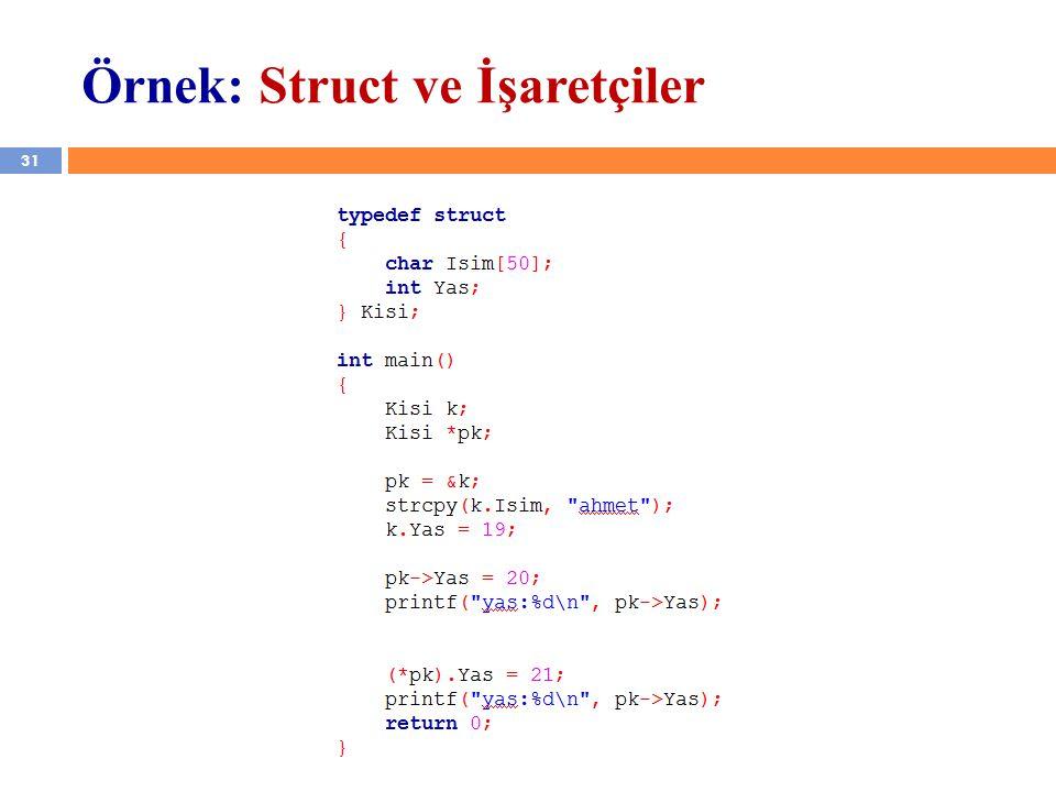 31 Örnek: Struct ve İşaretçiler YZM 1102 – Algoritma ve Programlama II