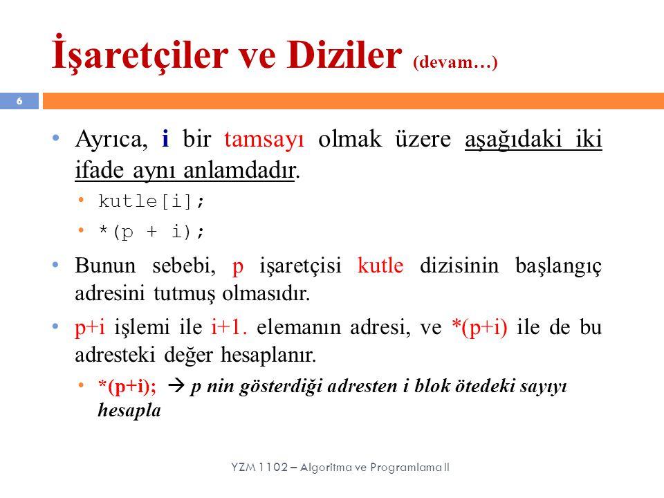 6 Ayrıca, i bir tamsayı olmak üzere aşağıdaki iki ifade aynı anlamdadır. kutle[i]; *(p + i); Bunun sebebi, p işaretçisi kutle dizisinin başlangıç adre