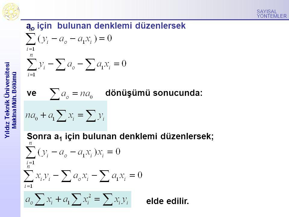 Yıldız Teknik Üniversitesi Makina Müh. Bölümü SAYISAL YÖNTEMLER ve a o için bulunan denklemi düzenlersek dönüşümü sonucunda: Sonra a 1 için bulunan de