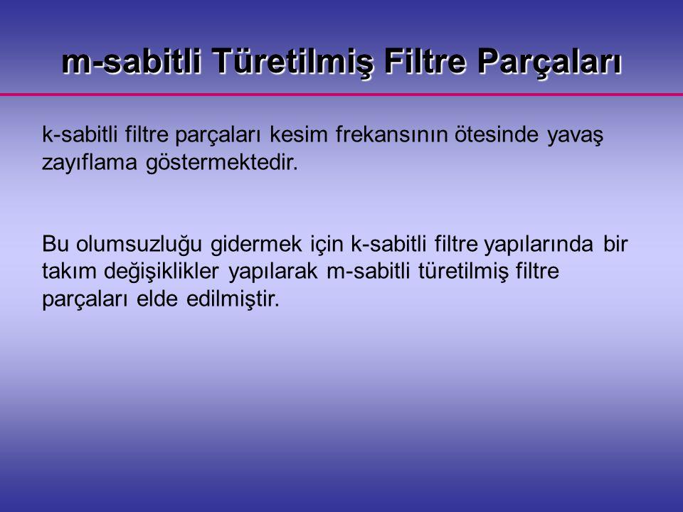 m-sabitli Türetilmiş Filtre Parçaları k-sabitli filtre parçaları kesim frekansının ötesinde yavaş zayıflama göstermektedir.