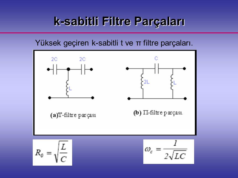 Yüksek geçiren k-sabitli t ve π filtre parçaları. k-sabitli Filtre Parçaları