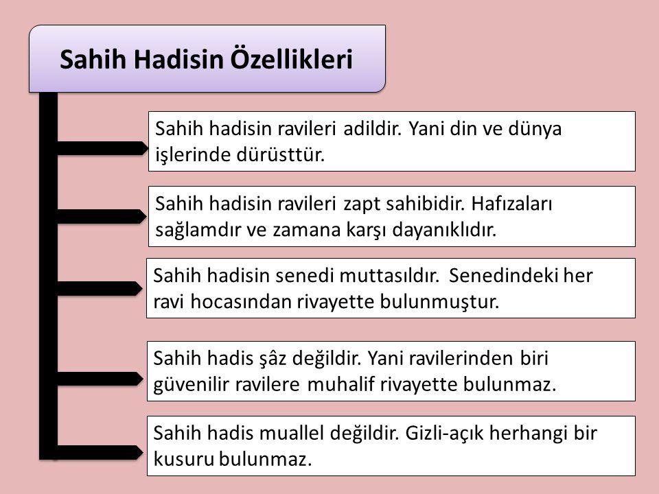 Sahih Hadis Geri dön Resulullah'a ait olduğunda usul bakımından herhangi bir tereddüt bulunmayan, sıhhatine hükmedilmiş olan hadistir. Adalet ve zabt
