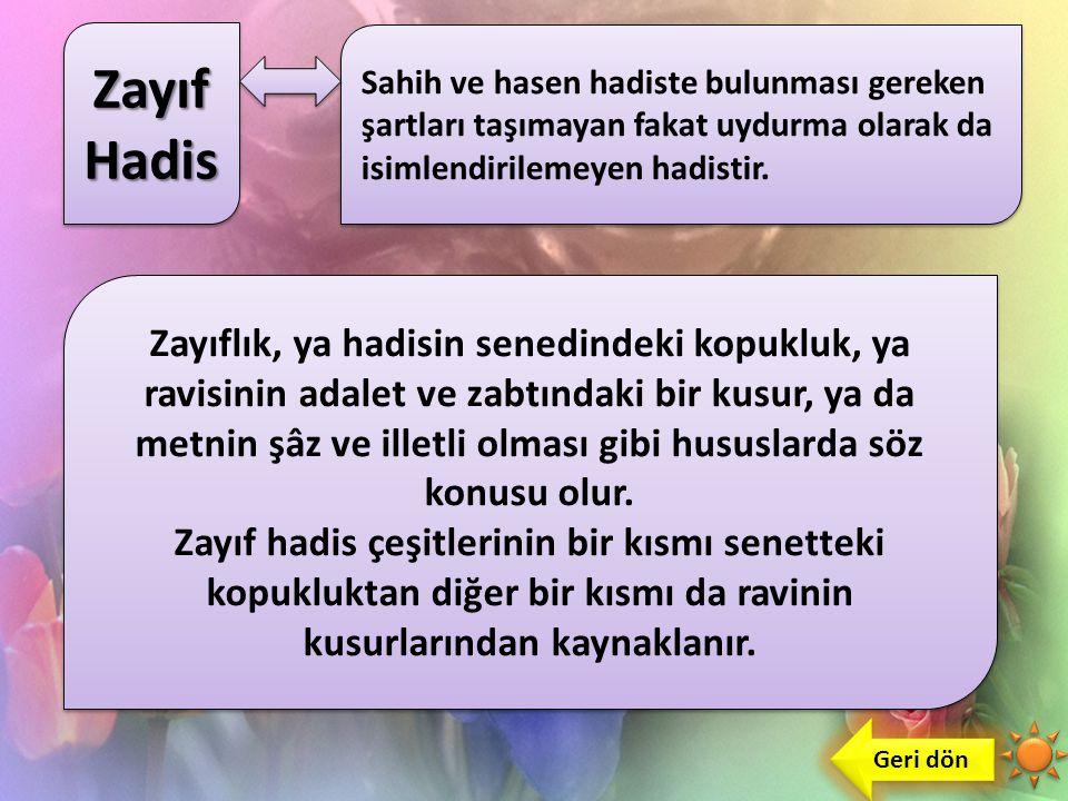 Hasen Hadis Geri dön Sahih ile zayıf hadis arasında yer alan, ancak sahihe daha yakın olan hadistir. Sahihlik şartlarını taşımakla birlikte ravileri z