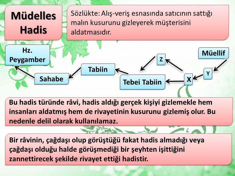 «İbni Abbas dedi ki, 'Hz. Peygamber bir deve üzerinde Kâbe'yi tavaf etti.» (Buhari1/119) Bu hadiste müellif senedin son kısmından sahabeye kadar olanı