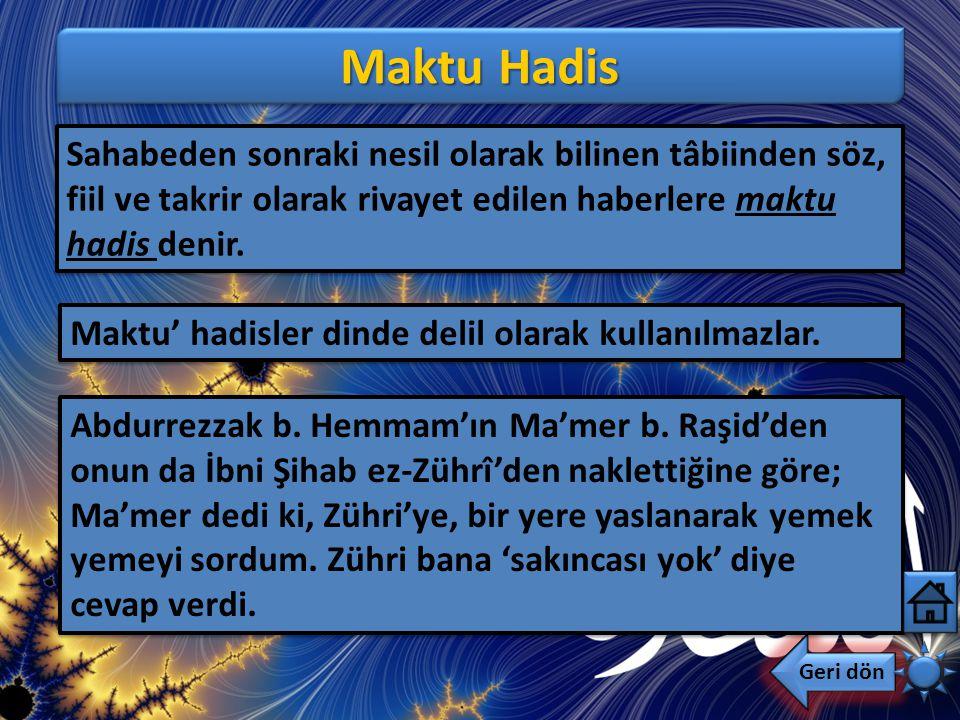 Mevkuf Hadis Geri dön Sahabelerden söz, fiil ve takrir olarak rivayet edilen haberlere mevkuf hadis denir. Falan sahabe şöyle dedi, şunu yaptı, şu ola