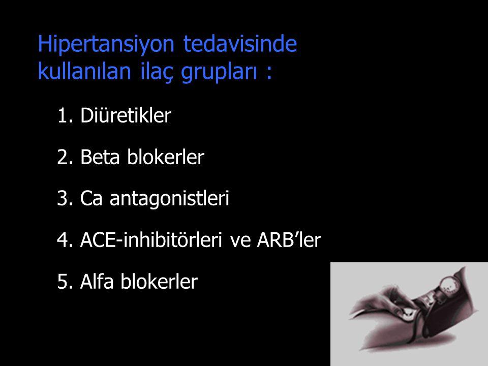 18 Hipertansiyon tedavisinde kullanılan ilaç grupları : 1. Diüretikler 2. Beta blokerler 3. Ca antagonistleri 4. ACE-inhibitörleri ve ARB'ler 5. Alfa