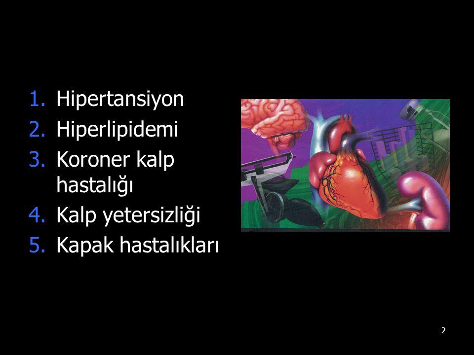 2 1.Hipertansiyon 2.Hiperlipidemi 3.Koroner kalp hastalığı 4.Kalp yetersizliği 5.Kapak hastalıkları