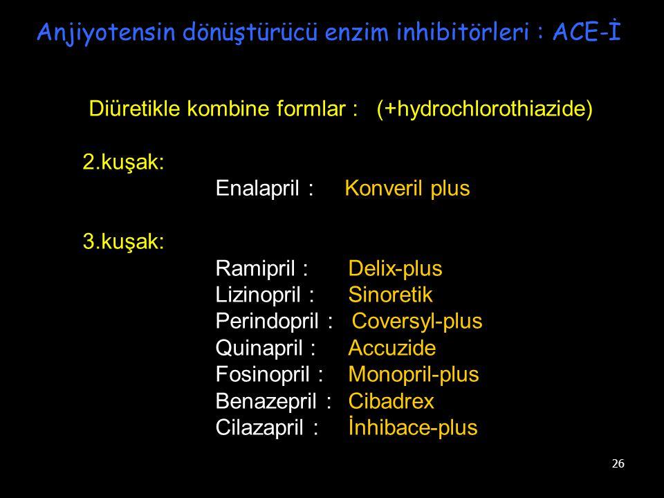 26 Anjiyotensin dönüştürücü enzim inhibitörleri : ACE-İ Diüretikle kombine formlar : (+hydrochlorothiazide) 2.kuşak: Enalapril : Konveril plus 3.kuşak
