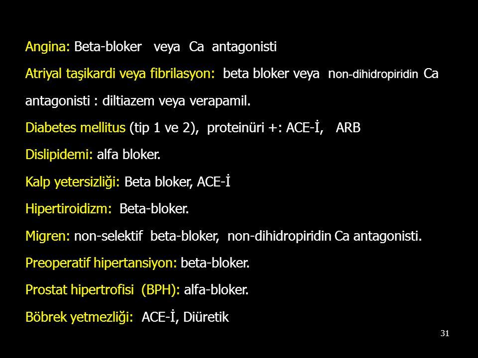 31 Angina: Beta-bloker veya Ca antagonisti Atriyal taşikardi veya fibrilasyon: beta bloker veya n on-dihidropiridin Ca antagonisti : diltiazem veya ve