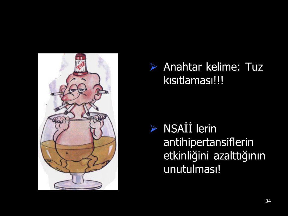 34  Anahtar kelime: Tuz kısıtlaması!!!  NSAİİ lerin antihipertansiflerin etkinliğini azalttığının unutulması!