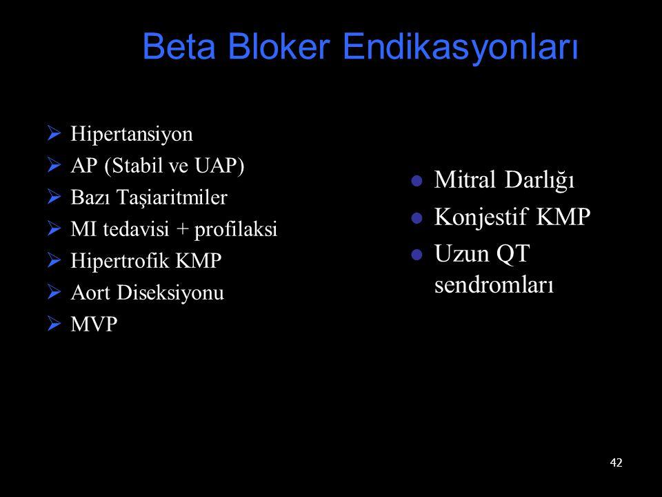 42  Hipertansiyon  AP (Stabil ve UAP)  Bazı Taşiaritmiler  MI tedavisi + profilaksi  Hipertrofik KMP  Aort Diseksiyonu  MVP Beta Bloker Endikas