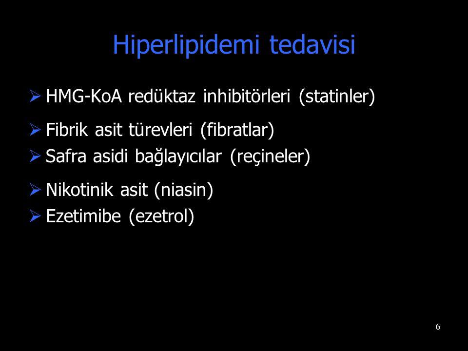 6 Hiperlipidemi tedavisi  HMG-KoA redüktaz inhibitörleri (statinler)  Fibrik asit türevleri (fibratlar)  Safra asidi bağlayıcılar (reçineler)  Nik