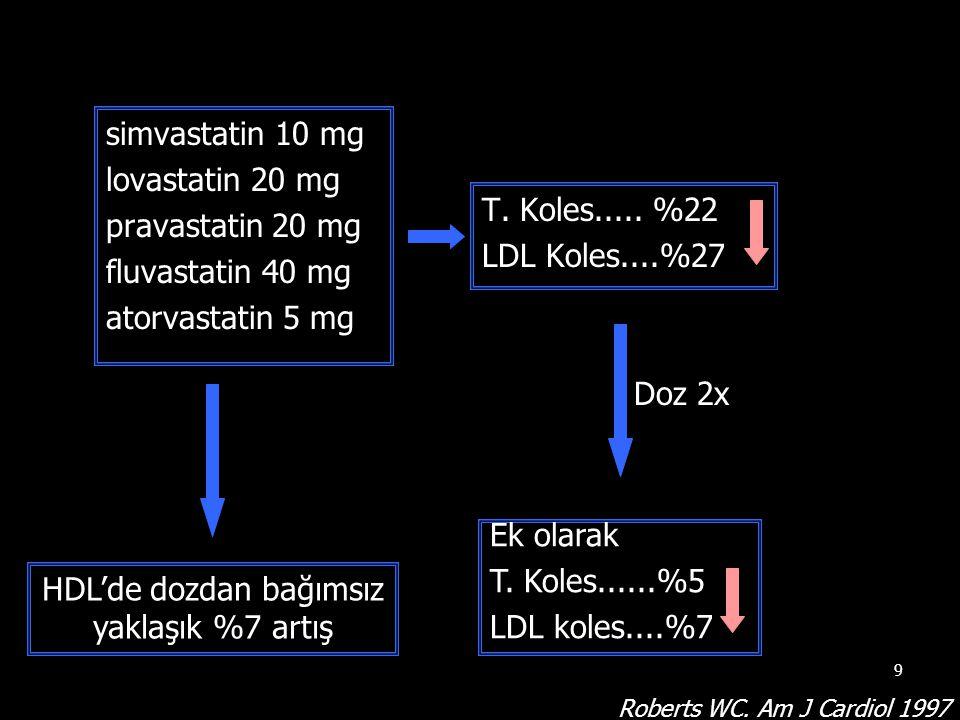 9 simvastatin 10 mg lovastatin 20 mg pravastatin 20 mg fluvastatin 40 mg atorvastatin 5 mg T. Koles..... %22 LDL Koles....%27 Doz 2x Ek olarak T. Kole