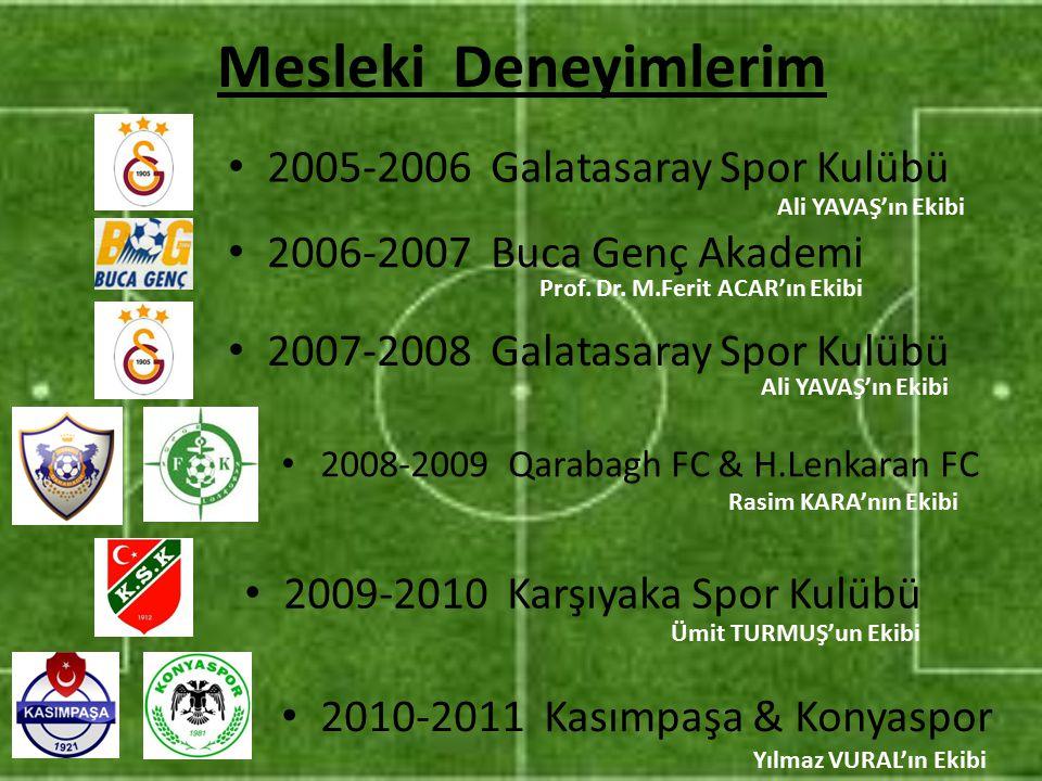 Mesleki Deneyimlerim 2006-2007 Buca Genç Akademi 2007-2008 Galatasaray Spor Kulübü 2008-2009 Qarabagh FC & H.Lenkaran FC 2009-2010 Karşıyaka Spor Kulü