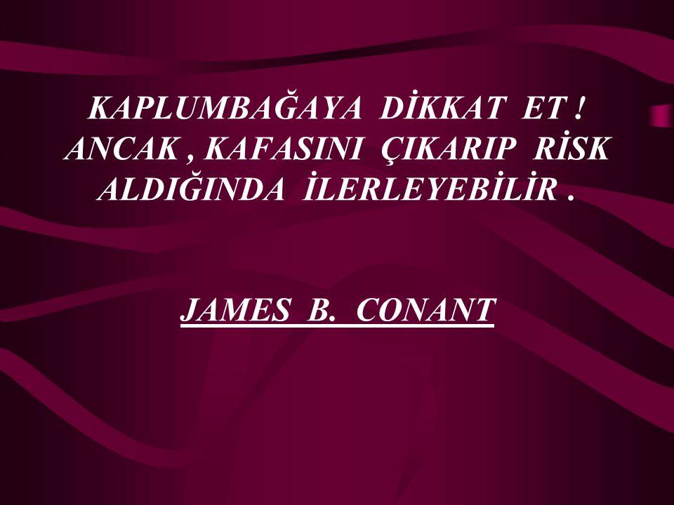 KAPLUMBAĞAYA DİKKAT ET ! ANCAK, KAFASINI ÇIKARIP RİSK ALDIĞINDA İLERLEYEBİLİR. JAMES B. CONANT